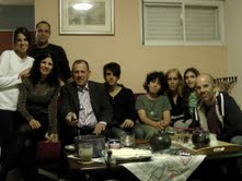 Joseph Mor with his family on his birthday, his daugher  Sigalit  her  husband  Natan   and their  daughter  Gal-Dorin on  the left,   with  Sigalit  son  Amir, his other  grandson  Dani  Doron - son of  Ronel and  Dorit, his mother   Dorit, her  dauther  Mika, Joseph's  son  Ronel.